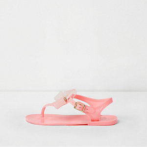 Girls pink rhinestone bow jelly sandals