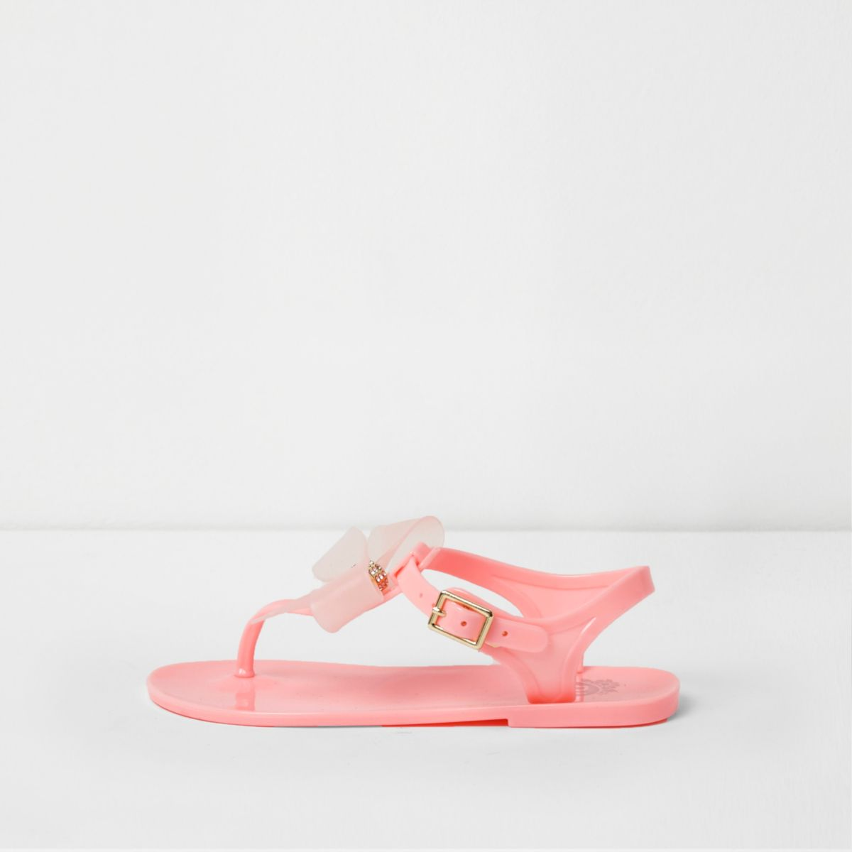 Girls pink diamante bow jelly sandals