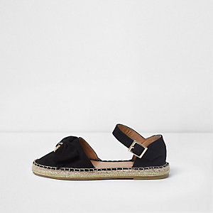 Girls black bow top espadrille sandals