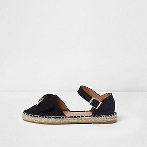 Sandales espadrilles noires à nœud sur le dessus pour fille