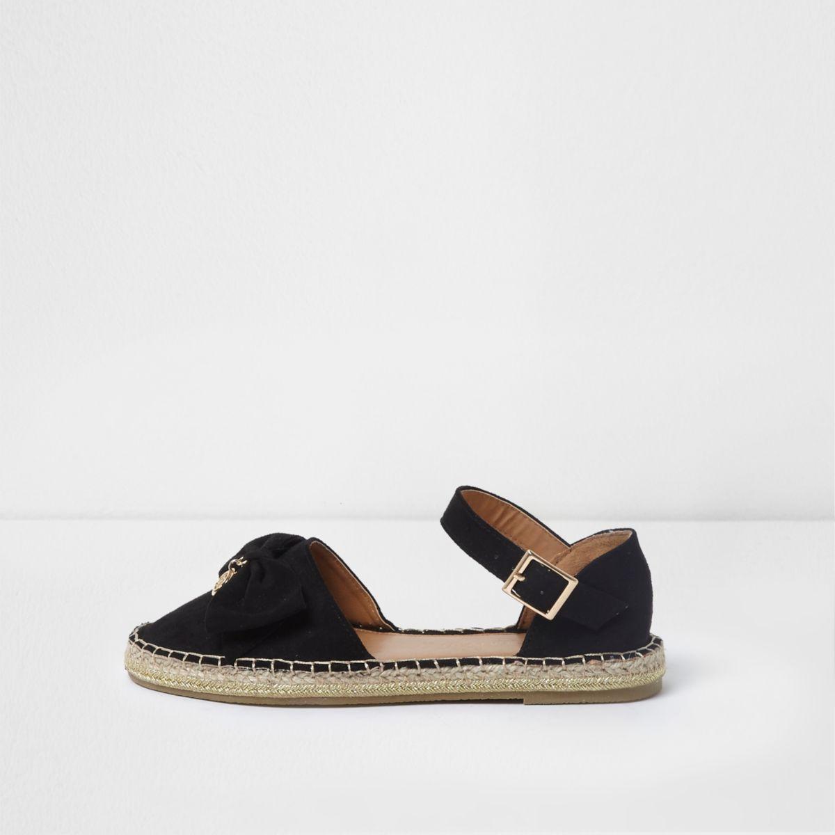 Girls black bow top espadrille sandals