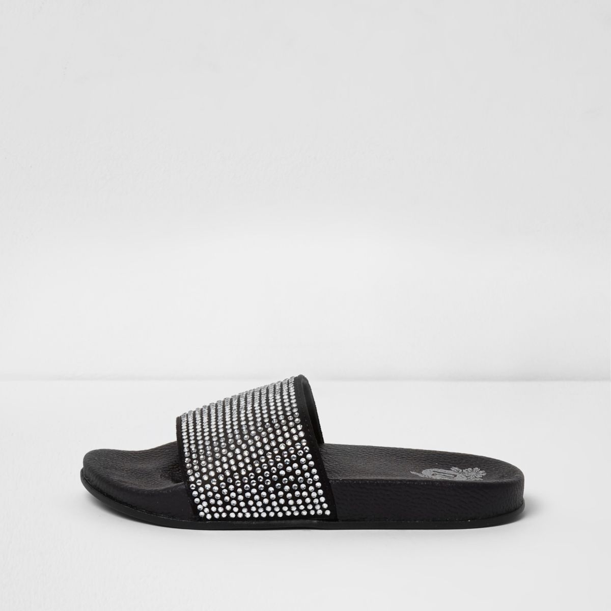 Girls black diamante stud embellished sliders