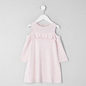 Mini - Roze schouderloze gebreide jurk voor meisjes