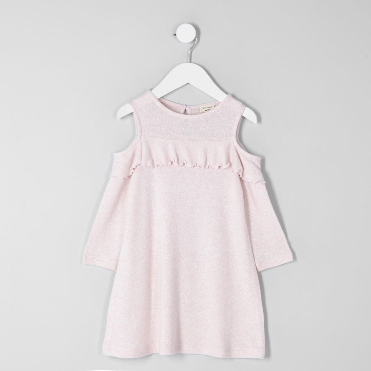 Mini girls pink cold shoulder knit dress