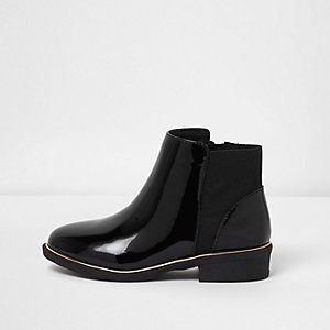 Zwarte lakleren chelsea boots voor meisjes