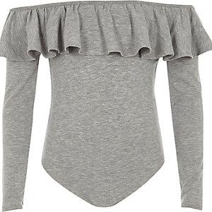 Girls grey frill bardot bodysuit