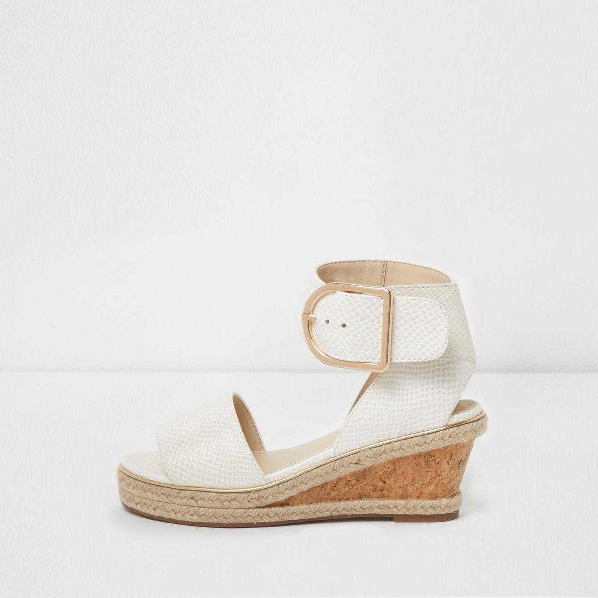 Girls white snake embossed espadrille wedges
