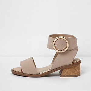 Girls beige cork flared heel sandals