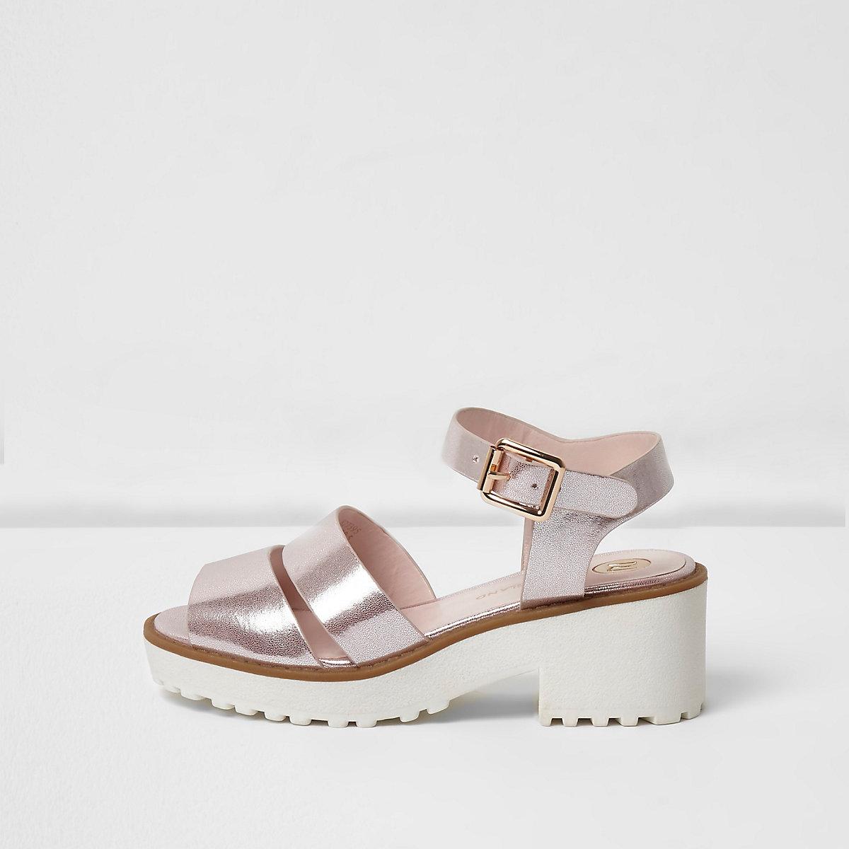 Girls pink metallic chunky sandals
