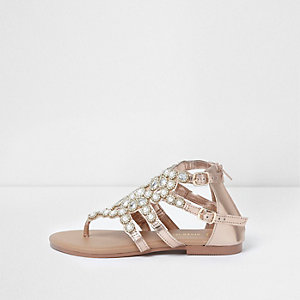 Girls rose gold jewel toe post cage sandals