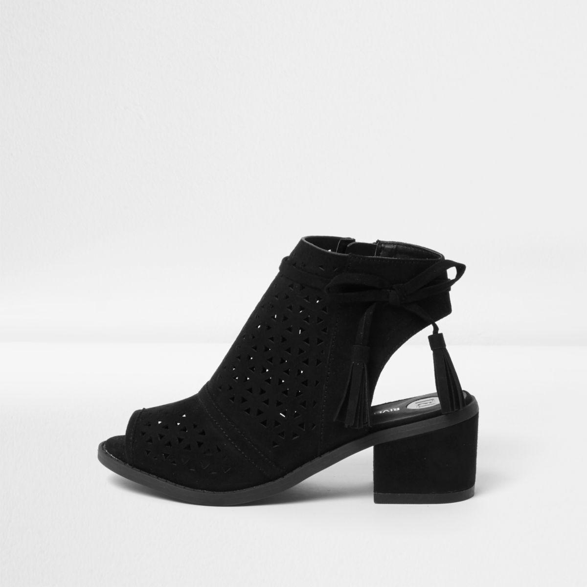 Girls black laser cut tassel shoe boots
