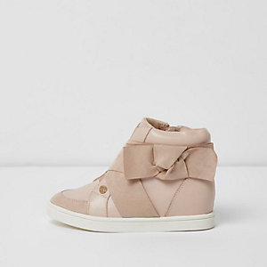 Girls pink bow side high top sneakers
