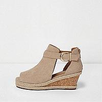 Girls beige espadrille wedge shoe boots