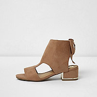 Girls nude cut out bow back shoe boots