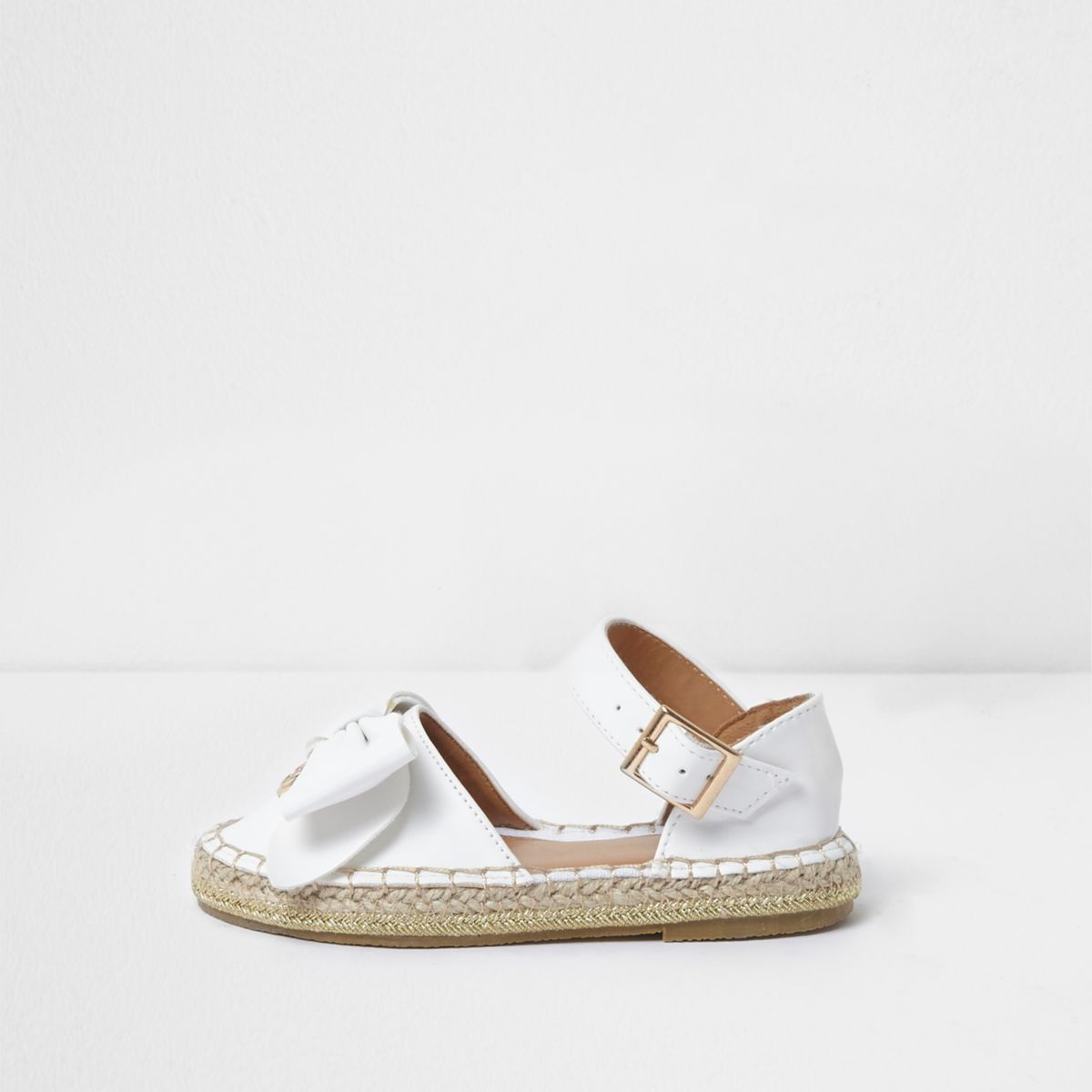 Mini girls white bow top espadrille sandals
