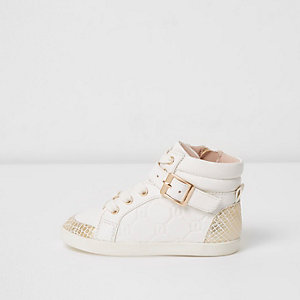 Mini girls white RI embossed hi top sneakers