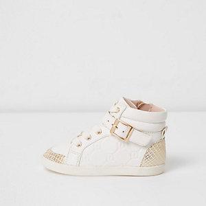 Mini - Witte hoge sneakers met RI-logo voor meisjes