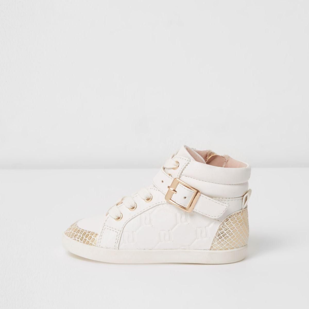 Mini girls white RI high top sneakers