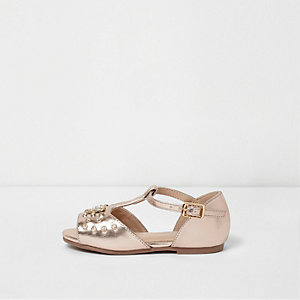 Mini girls rose gold metallic T bar sandals