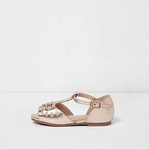 Mini - roségouden sandalen met metallic T-staafje voor meisjes