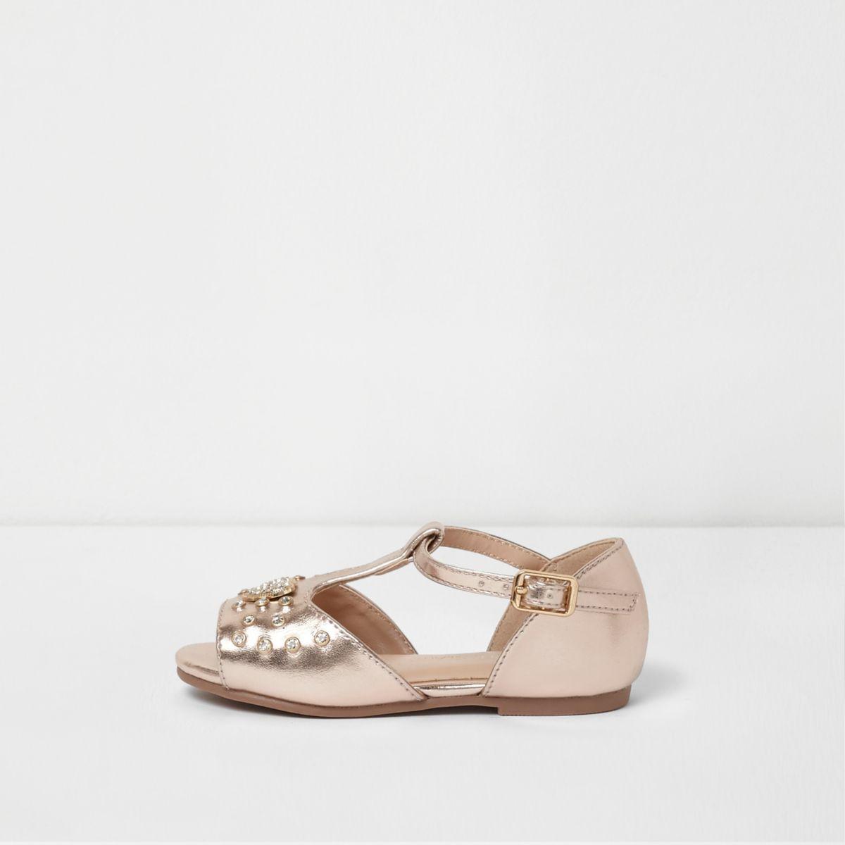 Mini girls rose gold metallic T bar sandals