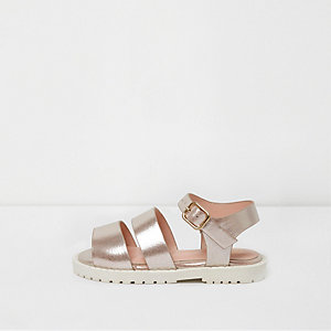 Mini girls pink metallic strappy sandals