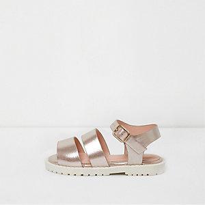 Sandales à brides rose métallisé mini fille