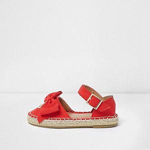 Sandales espadrilles rouges avec nœud sur le dessus mini fille