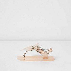 Mini girls gold diamante bow jelly sandals