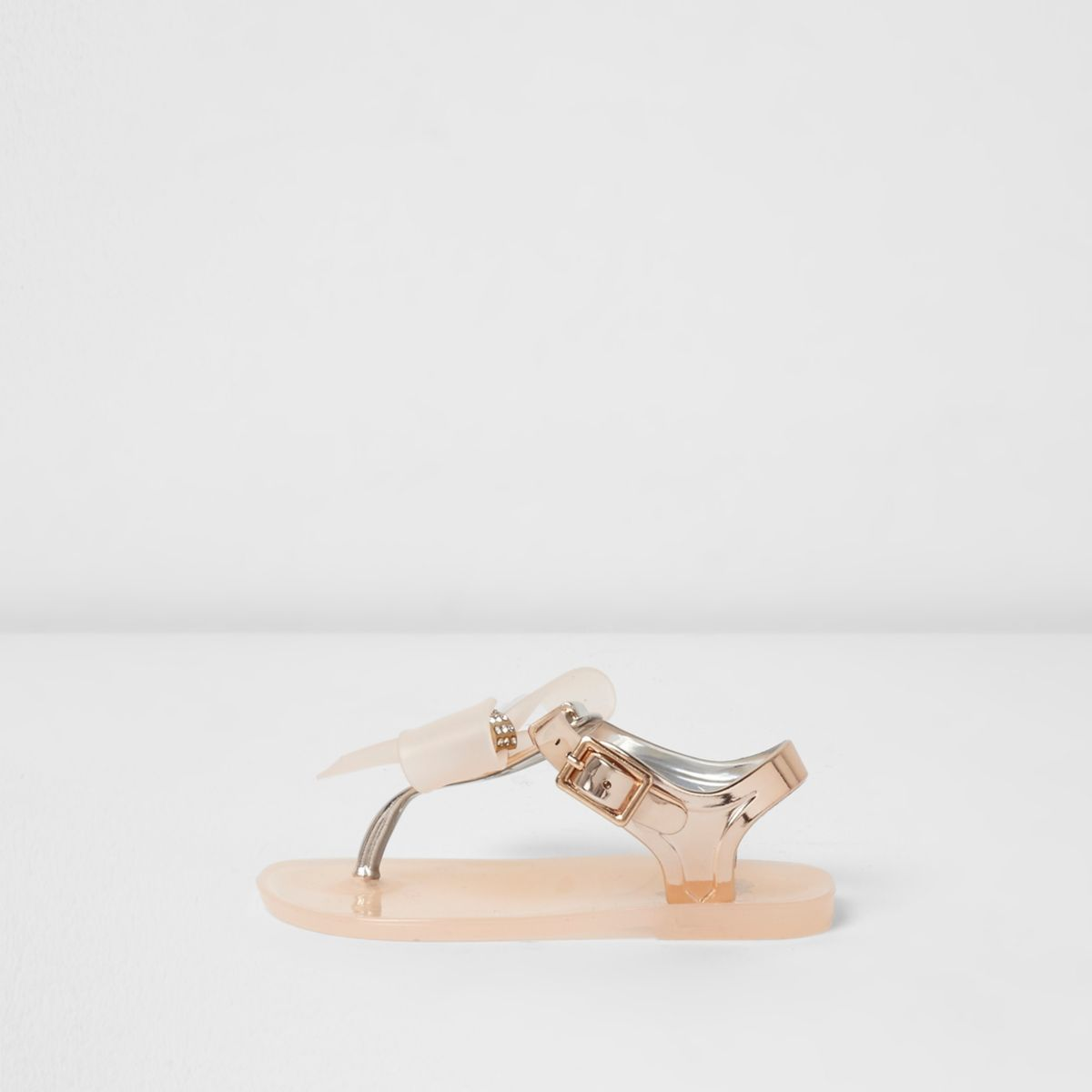 Mini girls gold diamante bow jelly sandals