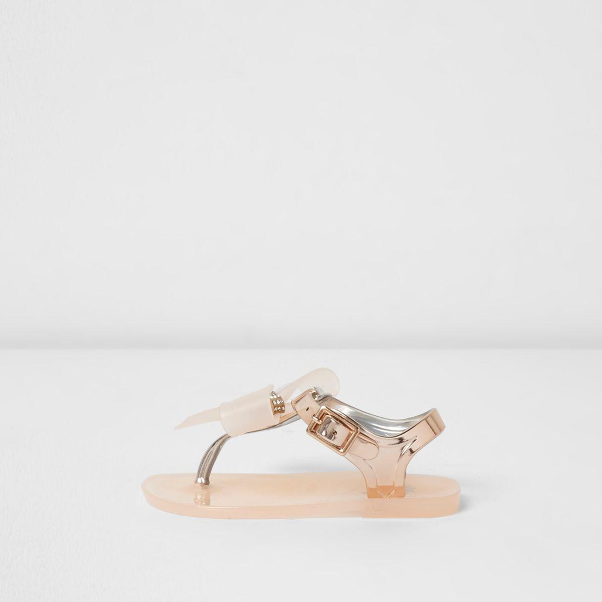 Sandales en plastique doré à nœud avec strass mini fille