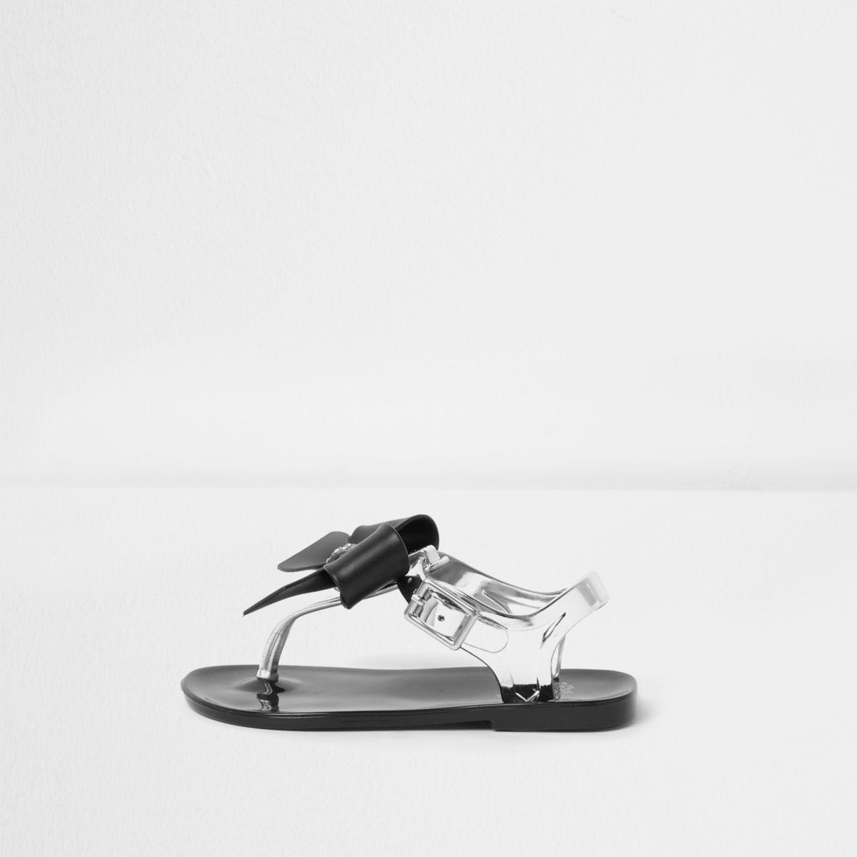 Mini girls black rhinestone bow jelly sandals