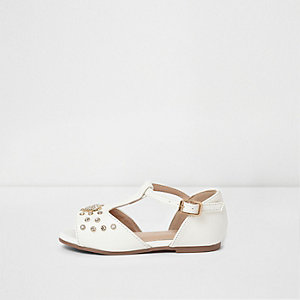 Mini girls white embellished T bar sandals