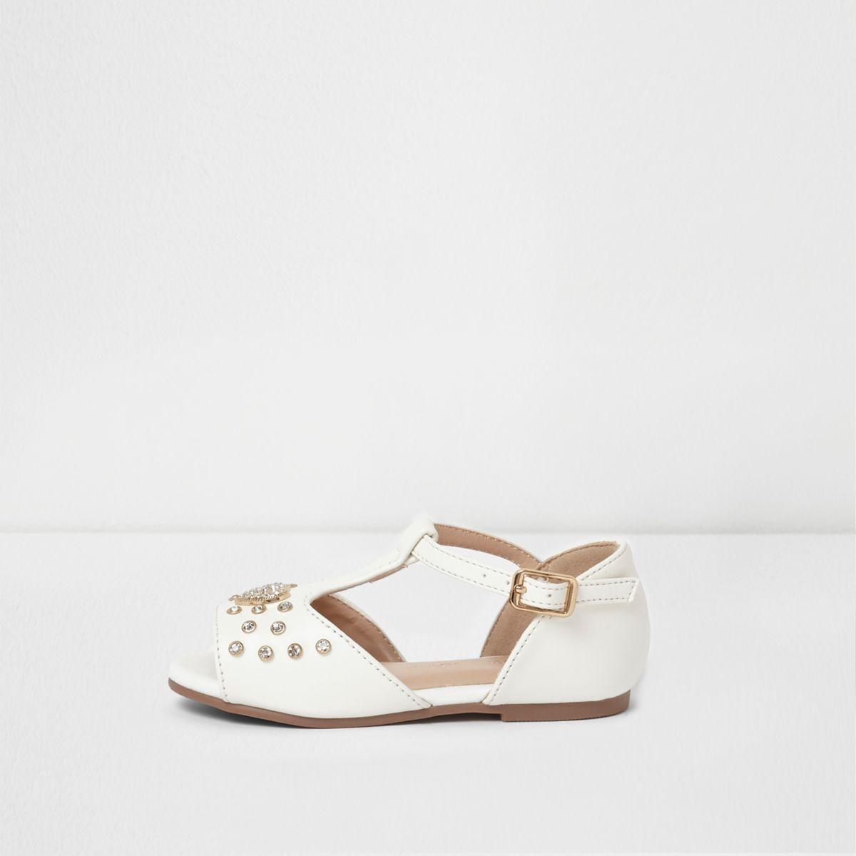 Mini girls white embellished T bar sandals