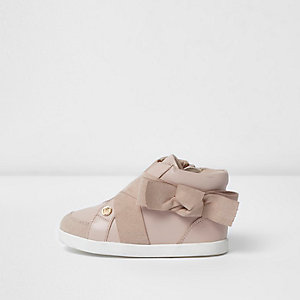 Mini girls pink bow side high top sneakers