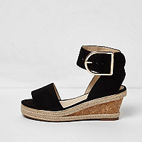 Girls black cork espadrille wedge sandals