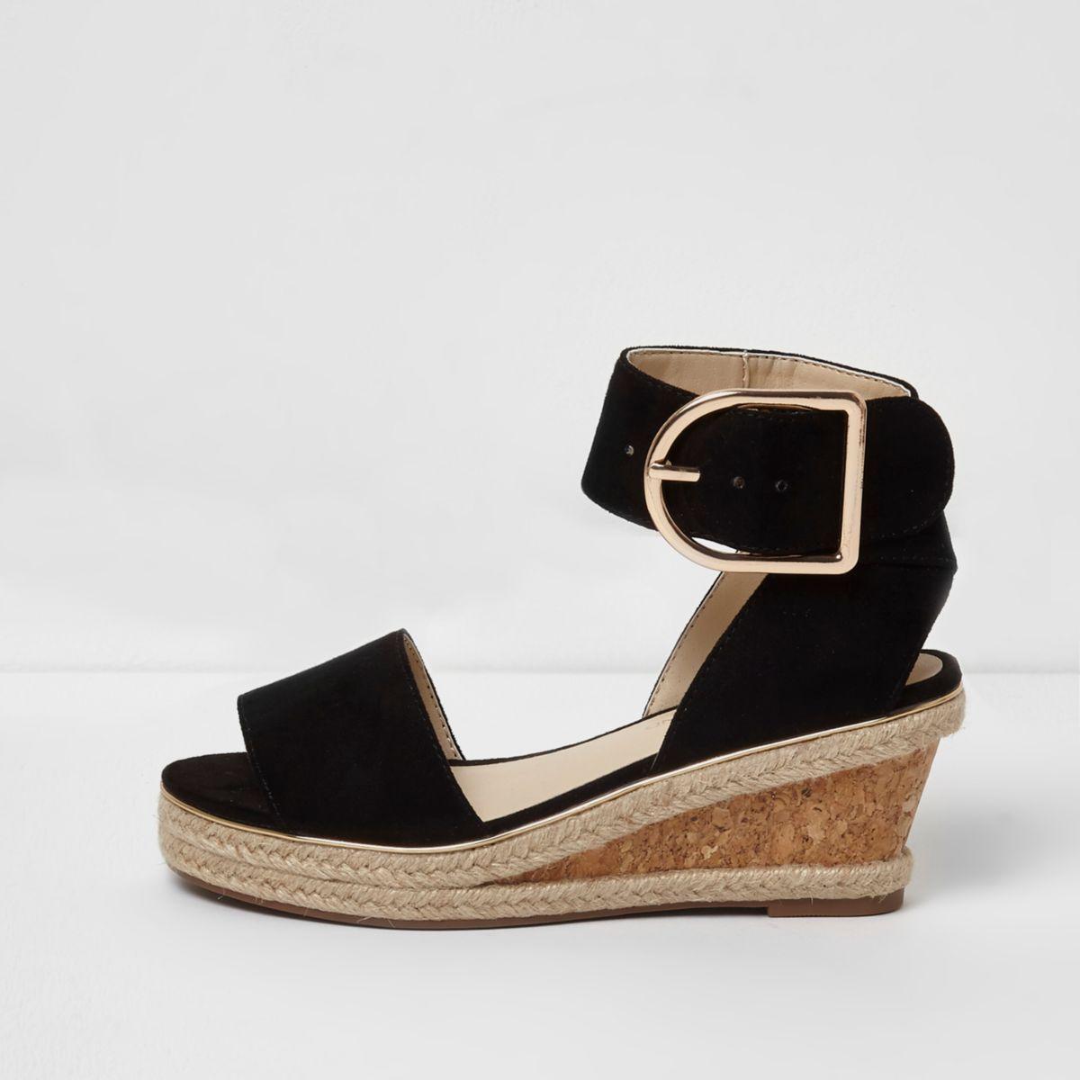 Girls black cork espadrille wedge sandals