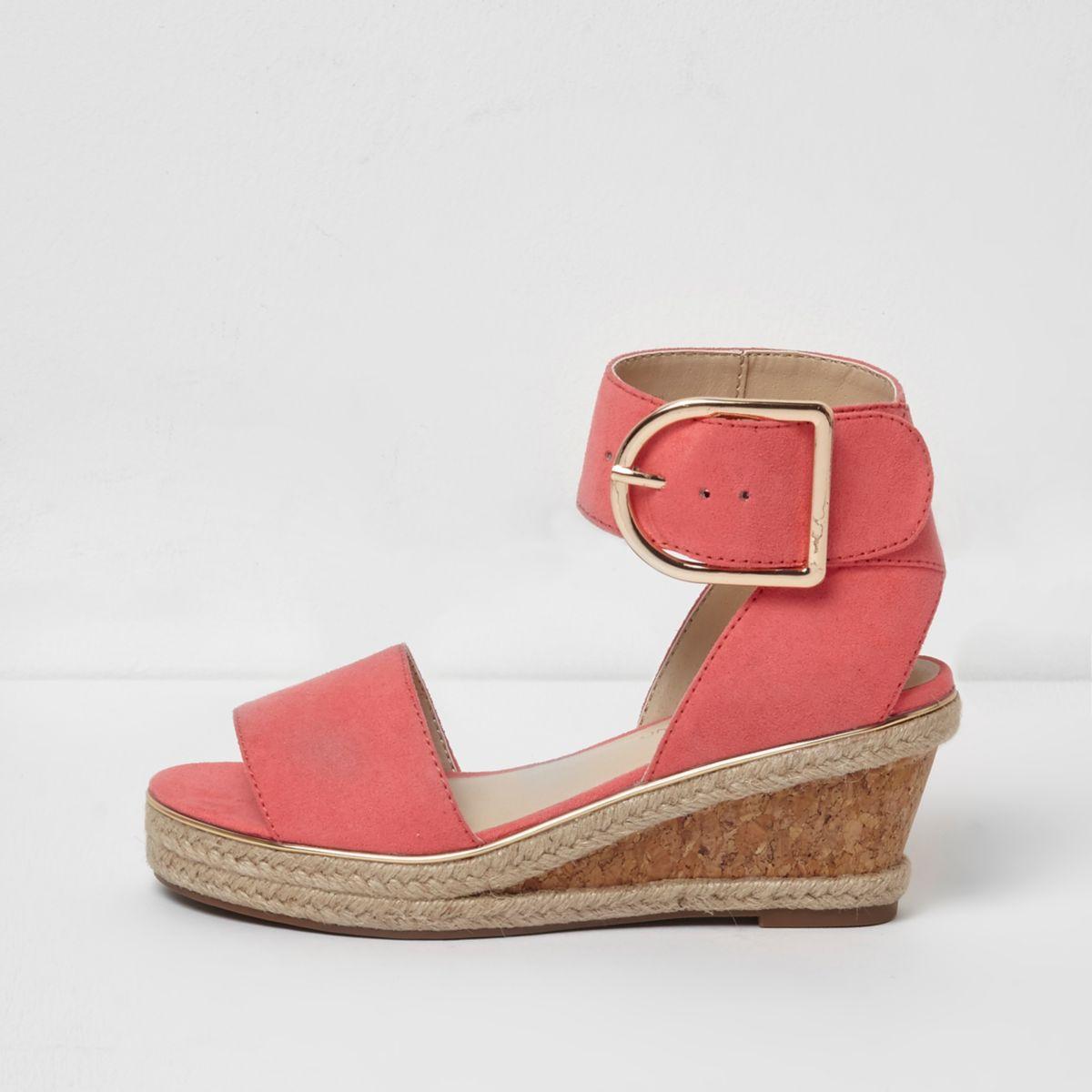 Sandales corail à talon compensé en liège façon espadrille pour fille