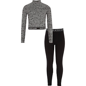 Girls grey high neck top and leggings outfit