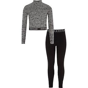 Outfit met grijze hoogsluitende top en legging voor meisjes