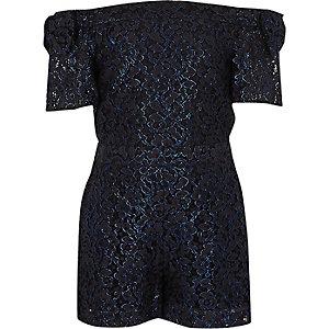 Combi-short Bardot en dentelle bleu métallisé pour fille