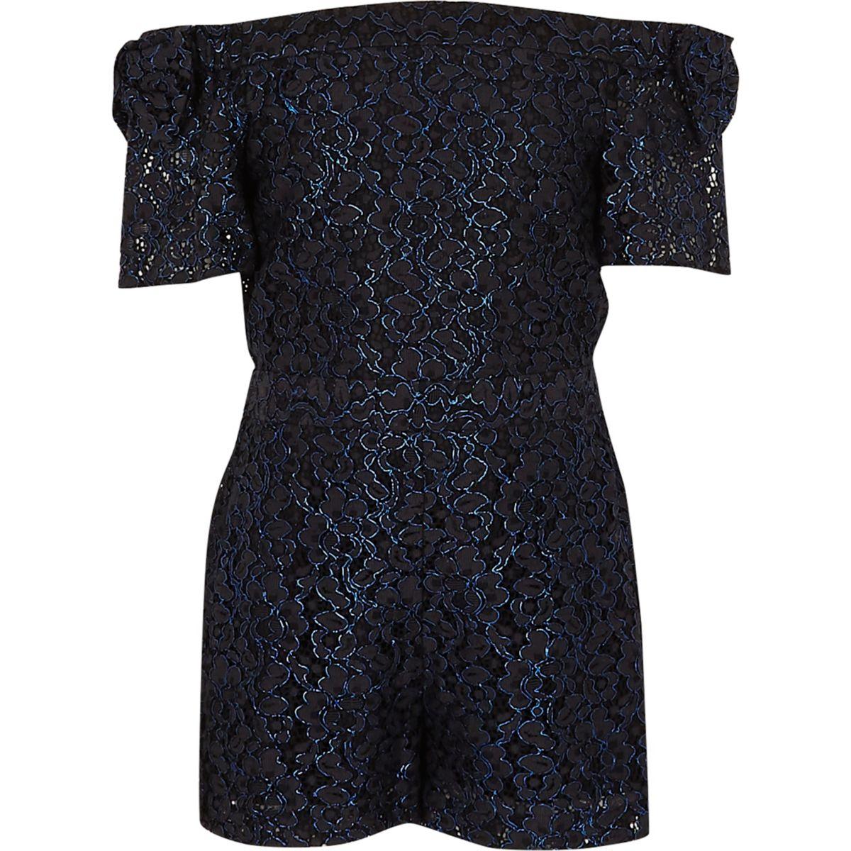 Girls blue metallic lace bardot playsuit