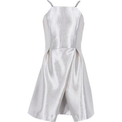 River Island Zilverkleurige metallic cami jurk met overslagrok voor meisjes