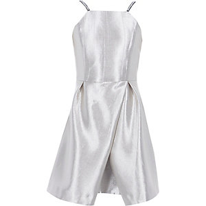 Girls silver metallic wrap skirt cami dress