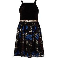 Girls black embellished tulle prom dress