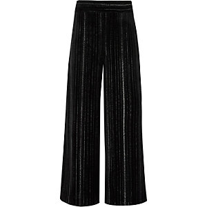 Girls black metallic plisse culottes