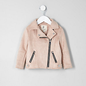 Mini girls light pink faux suede biker jacket