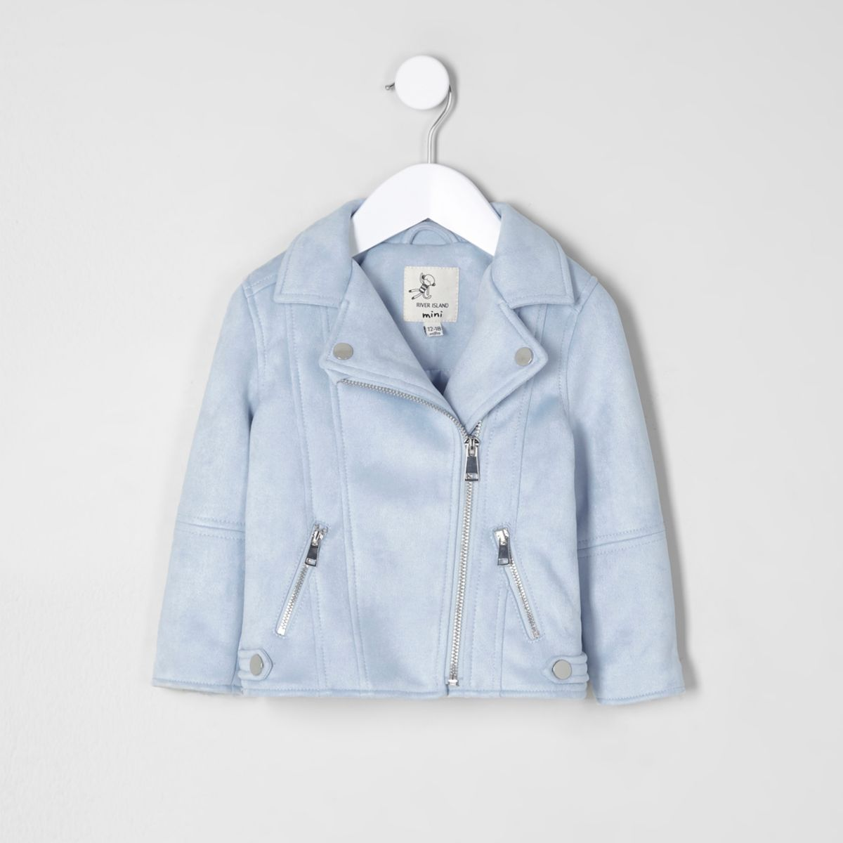 Mini girls light blue faux suede biker jacket