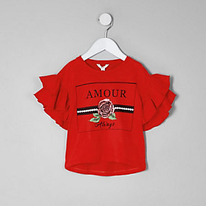 Mini girls red 'amour' rose frill T-shirt
