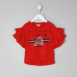 Mini - Rood T-shirt met ruches, 'amour'- en rozenprint voor meisjes